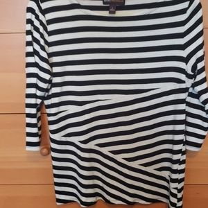Black and white striped womens L top